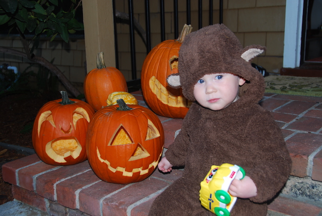 2011: Our first Halloween in our new house.  We'd been living there about two months.  We carried Wyatt around from house to house for a few blocks and then returned home.  It was mostly for the pleasure of the parents.